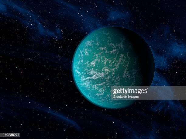 artist's concept of kepler 22b, an extrasolar planet found to orbit the habitable zone. - extrasolar planet stock illustrations