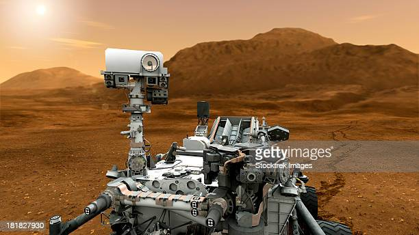 Artist's concept of NASA's Mars Science Laboratory Curiosity rover, a mobile robot for investigating Mars' past or present ability to sustain microbial life.