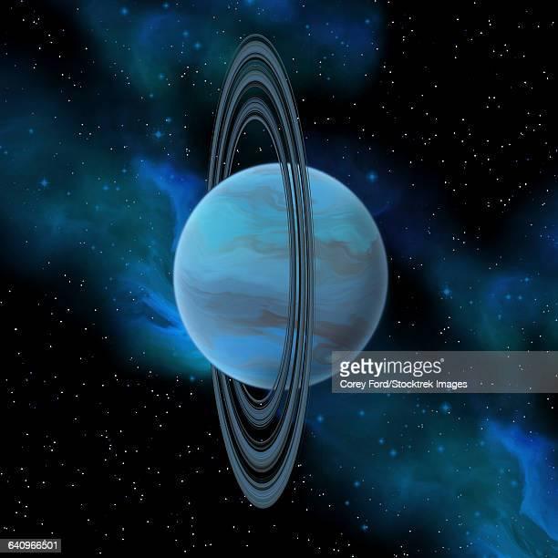 artists concept of planet uranus. - uranus stock illustrations