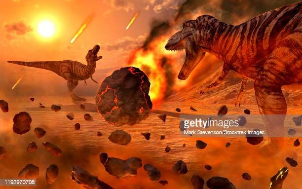 artist's concept of the cretaceous-paleogene extinction event. - paleozoology stock illustrations