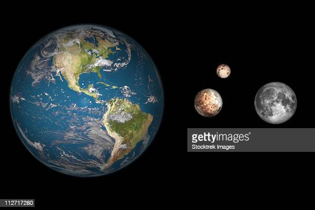 artist's concept of the earth, pluto, charon, and earth's moon to scale. - pluto dwarf planet stock illustrations