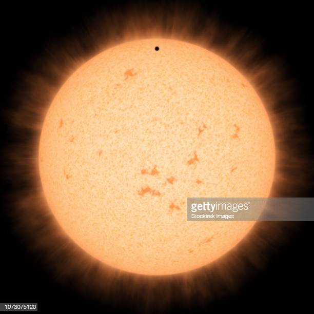 artist's concept of the hot rocky exoplanet hd 219134 b as it passes in front of its star. - molten stock illustrations, clip art, cartoons, & icons