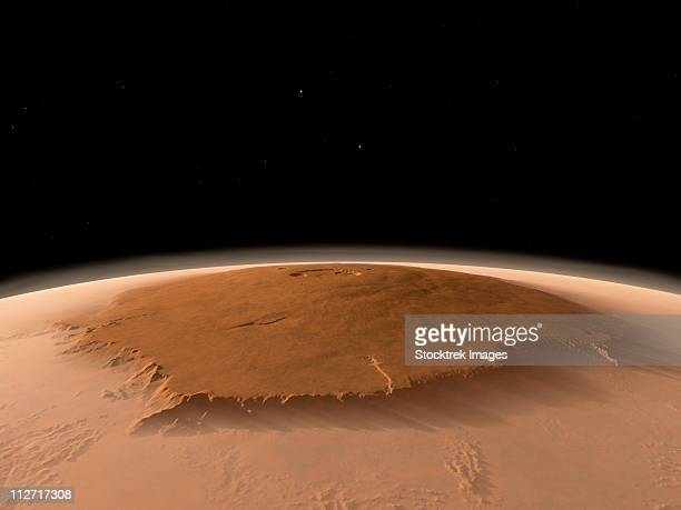 artist's concept of the northwest side of the olympus mons volcano on mars - volcanic crater stock illustrations, clip art, cartoons, & icons