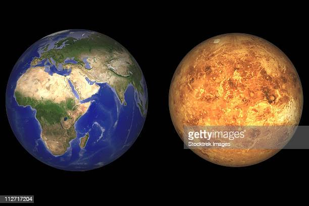 Artist's concept showing Earth and Venus without their atmospheres.