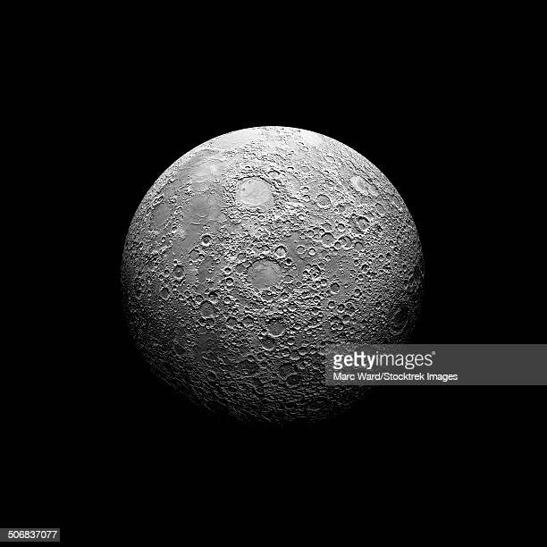 Artist's depiction of a heavily cratered moon. The moon elements were extracted from a false color, NASA topo map.