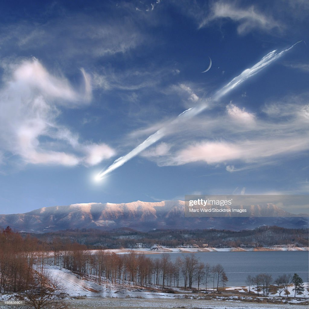 Artist's depiction of a large meteor entering Earth's atmosphere. : stock illustration