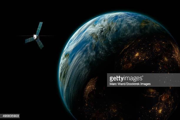 artist's depiction of a satellite in orbit around an earth-like inhabited world. - orbiting stock illustrations