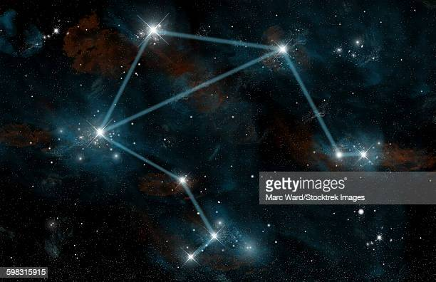 artists depiction of the constellation libra the scales. - libra stock illustrations
