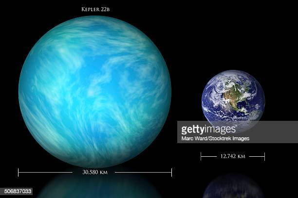artist's depiction of the difference in size between earth and kepler 22b. - letrac stock illustrations