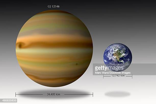 Artist's depiction of the size relationship between Earth and Gliese 1214b.