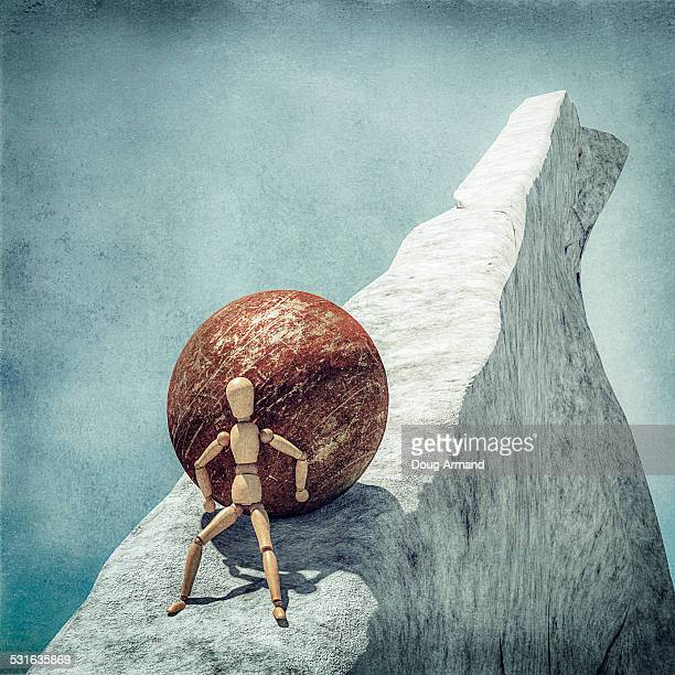 artists mannequin pushing a heavy ball uphill - classical greek style stock illustrations