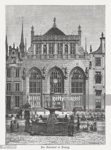 artus court in gdansk (danzig), wood engraving, published in 1884 - gdansk stock illustrations