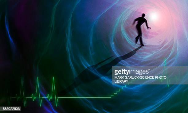 artwork depicting a near-death experience - graph stock illustrations