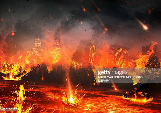 artwork of a city hit by meteorites - 2015 stock illustrations