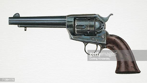 Artwork of a Colt 45 hand-gun.