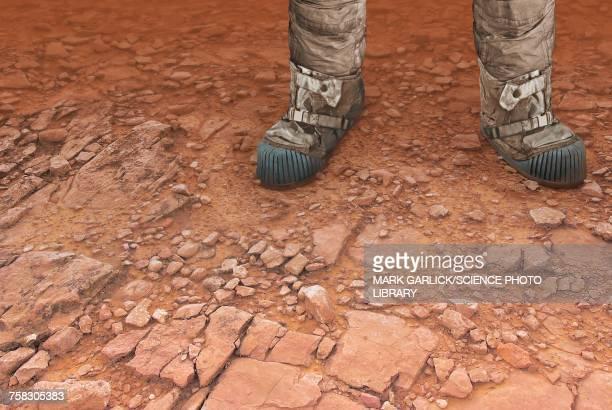 Artwork of a man on Mars, illustration