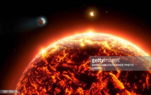 artwork of a molten exoplanet - physics stock illustrations