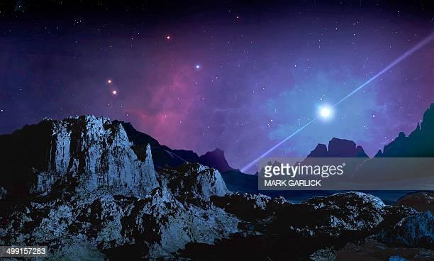 artwork of a planet orbiting a pulsar - extrasolar planet stock illustrations