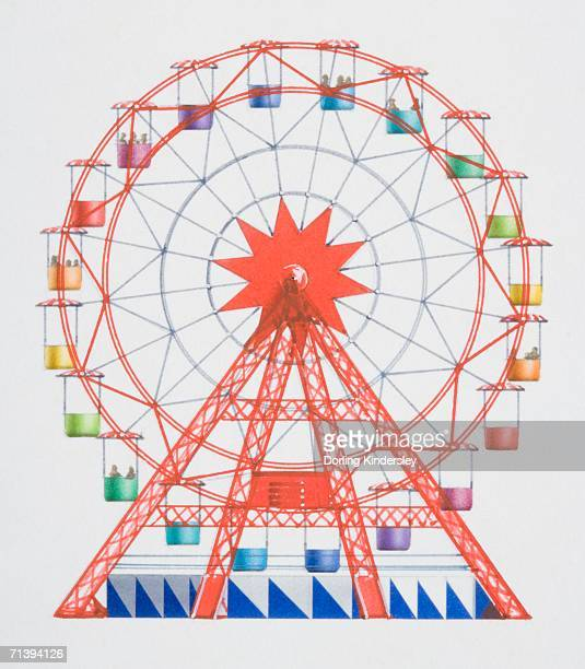 artwork of a red big wheel with multi coloured hanging seats. - ferris wheel stock illustrations, clip art, cartoons, & icons