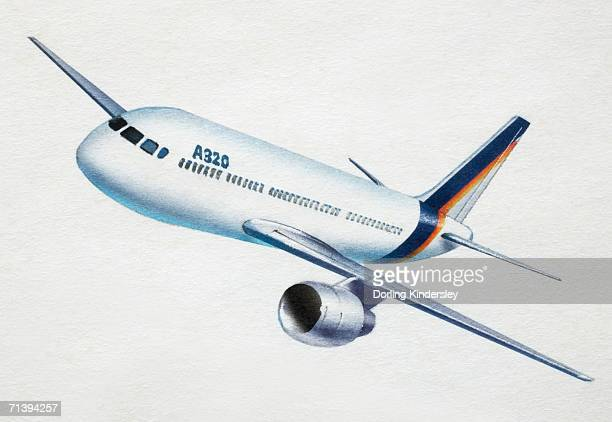 artwork of a white jet aeroplane. - airbus a320 stock illustrations