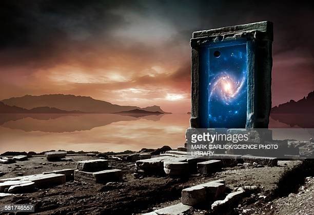 artwork of an inter-dimensional gateway - door frame stock illustrations, clip art, cartoons, & icons