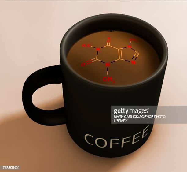 artwork of caffeine in coffee, illustration - caffeine stock illustrations, clip art, cartoons, & icons
