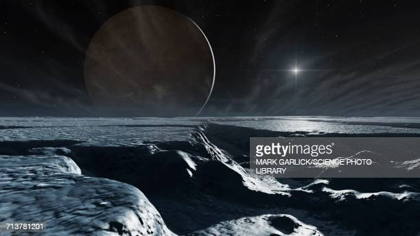 Artwork of Charon Seen From Pluto