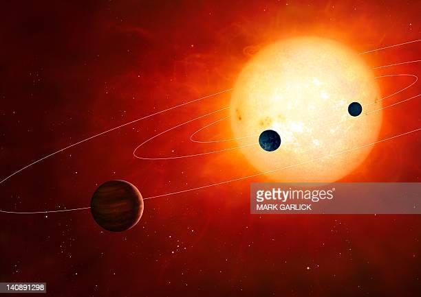 stockillustraties, clipart, cartoons en iconen met artwork of exoplanets around nearby star - orbiting