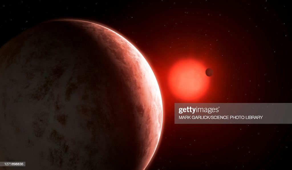 Artwork of Gliese 887 b and c : stock illustration