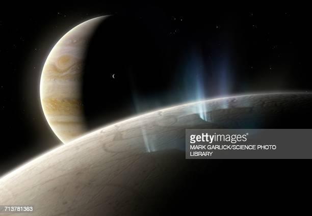 artwork of ice geysers on europa - jupiter planet stock illustrations