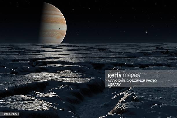 artwork of jupiter seen from europa - jupiter planet stock illustrations