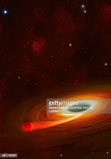 artwork of planet around alpha centauri b - black hole stock illustrations