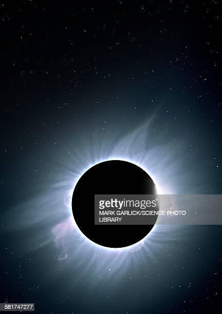 artwork of solar corona - aurora borealis stock illustrations