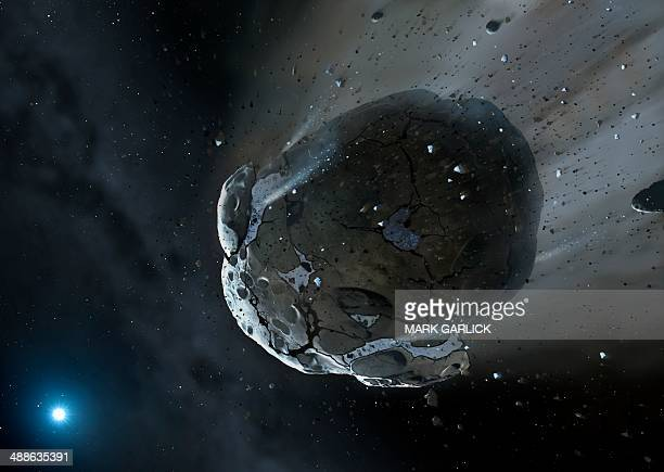 artwork of water-rich asteroid - ホームページ stock illustrations