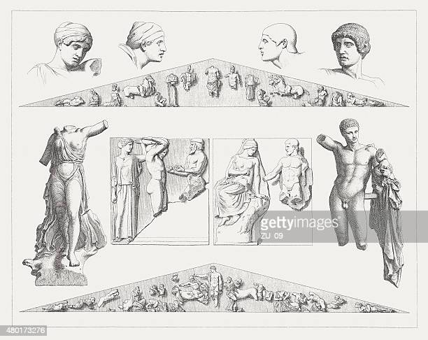 artworks from the temple of zeus at olympia, published 1880 - pediment stock illustrations, clip art, cartoons, & icons