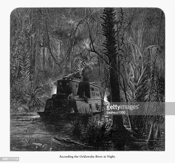 Ascending the Ocklawaha River at Night, Florida Swamp, Florida, United States, American Victorian Engraving, 1872
