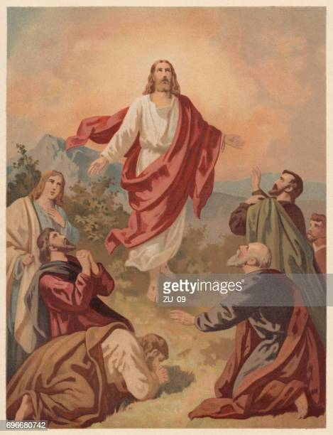 ascension of christ (luke 24, 51), chromolithograph, published in 1886 - jesus christ stock illustrations, clip art, cartoons, & icons