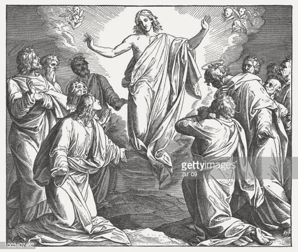 illustrations, cliparts, dessins animés et icônes de ascension du christ, gravure sur bois, publié de 1890 - ascension of jesus christ