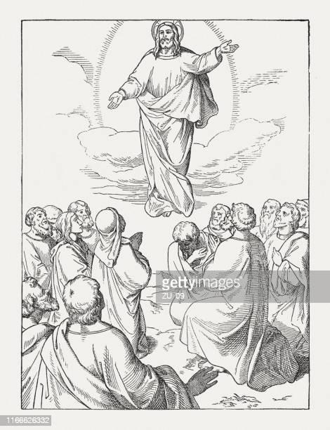 illustrations, cliparts, dessins animés et icônes de ascension du christ, gravure sur bois, publiée en 1850 - ascension of jesus christ