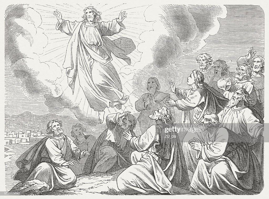 Ascension of Christ, wood engraving, published in 1877 : stock illustration