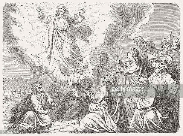 ascension of christ, wood engraving, published in 1877 - new testament stock illustrations
