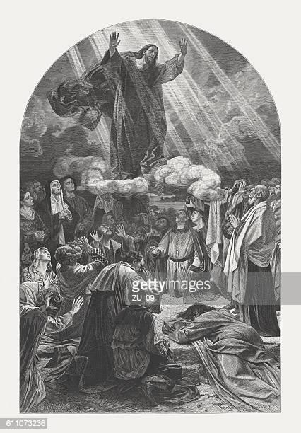 illustrations, cliparts, dessins animés et icônes de ascension of christ, wood engraving, published in 1882 - ascension of jesus christ