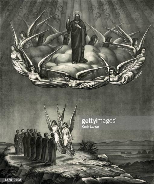 ascension of jesus christ - biblical event stock illustrations