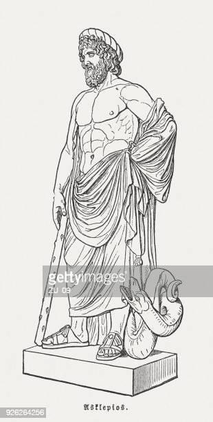 asclepius (esculape, louvre), greek-roman god of medicine, published in 1897 - greek gods stock illustrations, clip art, cartoons, & icons