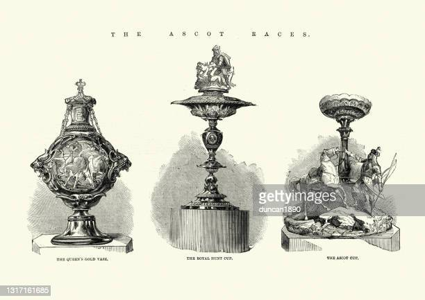 ascot horse racing trophies, queen's gold vase, royal hunt cup, ascot cup - ascot racecourse england stock illustrations