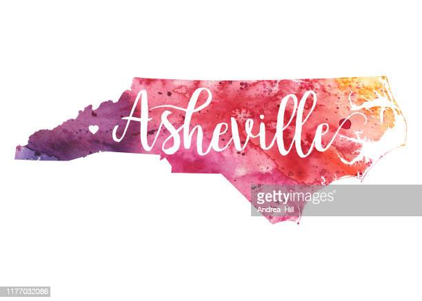 asheville, north carolina raster watercolor map illustration - asheville stock illustrations