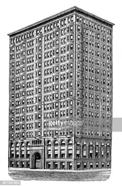 ashland building - rookery chicago stock illustrations