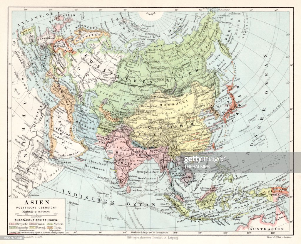Asia Political Map 1895 stock illustration - Getty Images