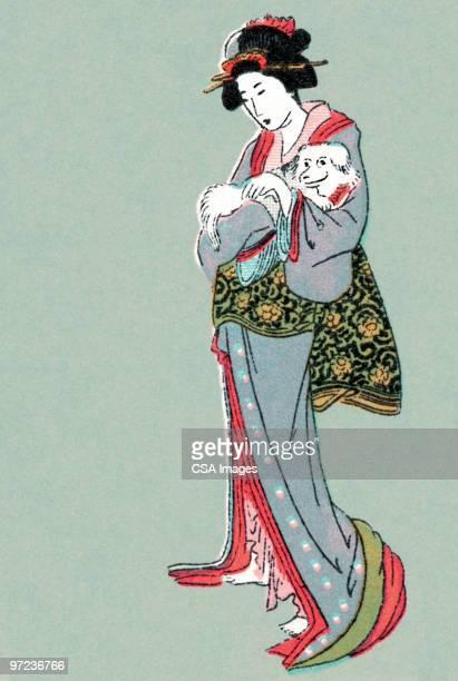 asian children - attraktive frau stock-grafiken, -clipart, -cartoons und -symbole