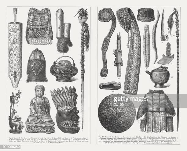 asian culture devices and products, wood engravings, published in 1897 - cauldron stock illustrations, clip art, cartoons, & icons